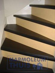 Marmoleum being used to create a 2 tone stair design. Looks lovely. | www.notablerugs.ca