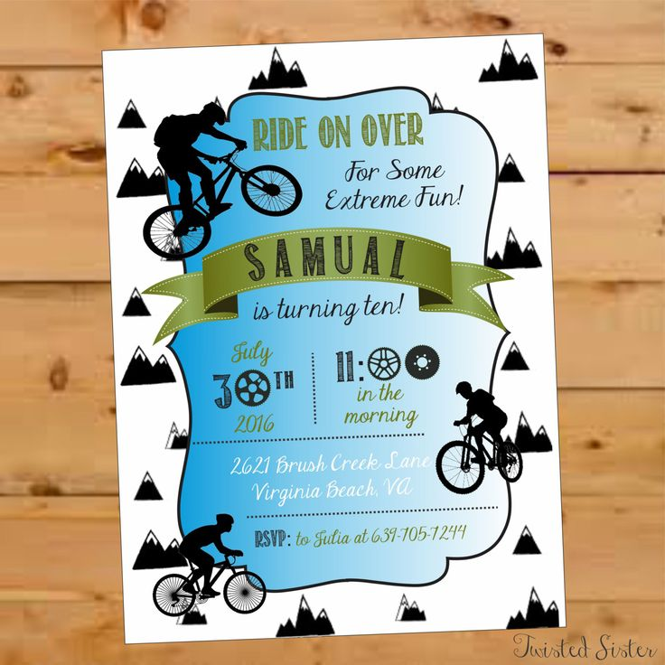 Bicycle Birthday Invite, Bicycle Birthday Party, Mountain Bike, BMX party, Motorcross Birthday Invite, Bicycle Birthday Boy, Mountain, Bike by TwistedSisterShop on Etsy