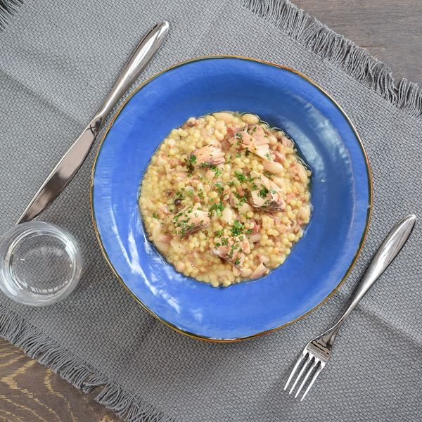 Fantastic Fregola: with cannellini beans and marinated mackerel fillets!