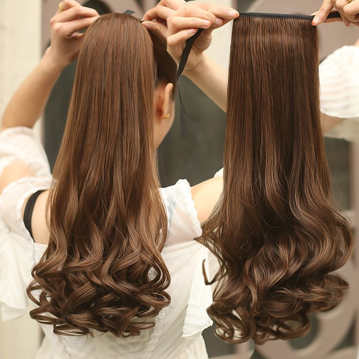 58cm Long Curly Wavy Ponytail Synthetic Hair Clipin Hair Extension Hairpiece Ponytail Long curly Hair Pieces Synthetic pony tail