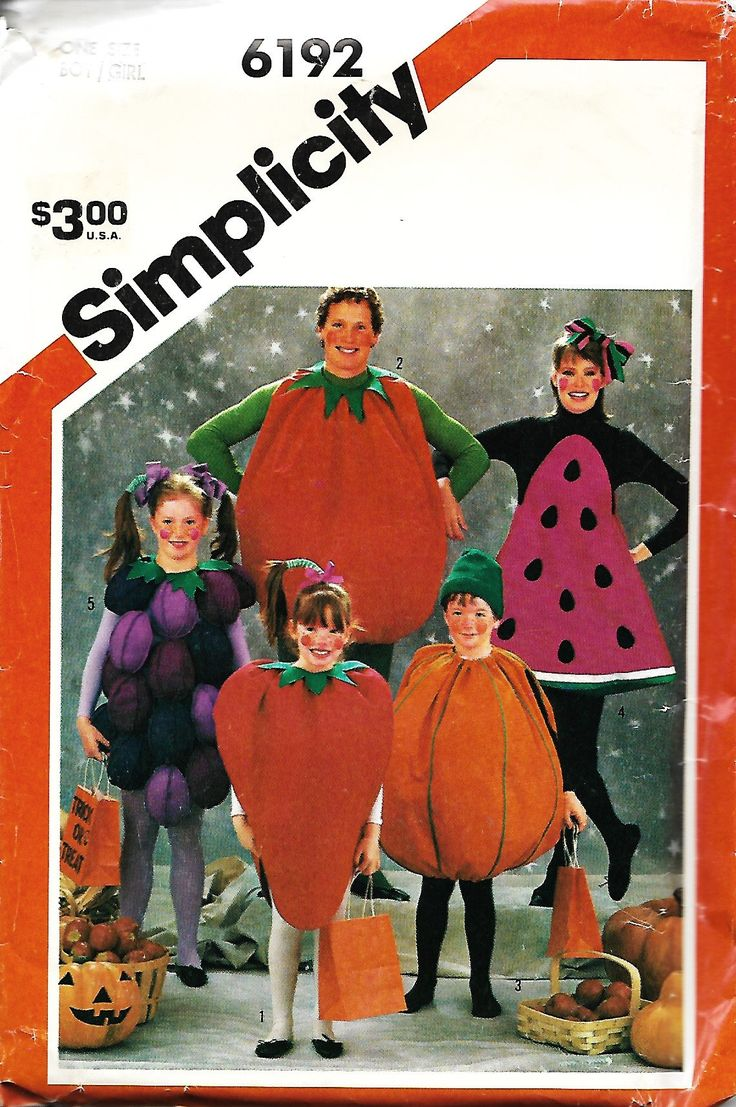 Simplicity 6192 Boys/Girls Felt Fruit And Vegetable Costumes Pattern, UNCUT by DawnsDesignBoutique on Etsy