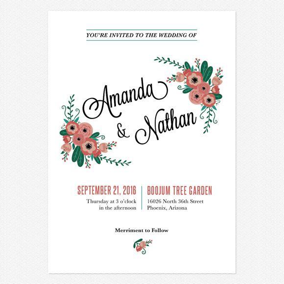 Botanical Love Wedding Invitations www.lovevsdesign.com
