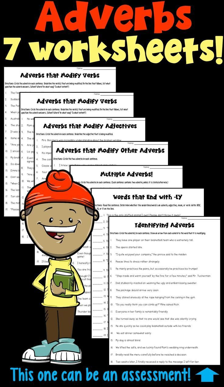 Adverbs 6 Worksheets and 1 Assessment in 2020 Adverbs