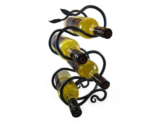 Hand Forged  Wrought Iron Wine Rack with Leaf by beaverforge, $175.00
