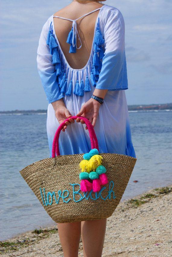 Las borlas playa de moda bolso/paja playa bolso/Moda paja bolsas playa desgaste Tropical bolso de la playa * BOLSA de PLAYA MYMAYAR