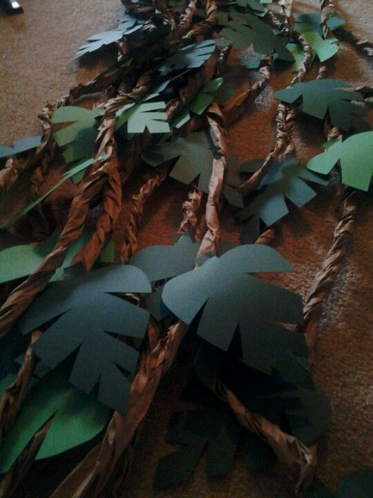 DIY Jungle Vines (Brown Crepe Paper  Green Construction Paper) -- Can be reused as nursery decoration too!:
