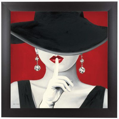 """East Urban Home Haute Chapeau Rouge by Marco Fabiano Framed Painting Print Size: 11"""" H x 11"""" W x 1"""" D"""