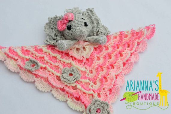 Elephant lovey. Crochet Elephant lovey by AriannasHandmade on Etsy
