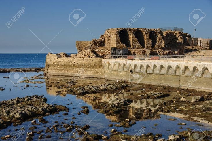 Remains Of An Old Medieval Harbor, In The Old City Of Acre, Israel ...