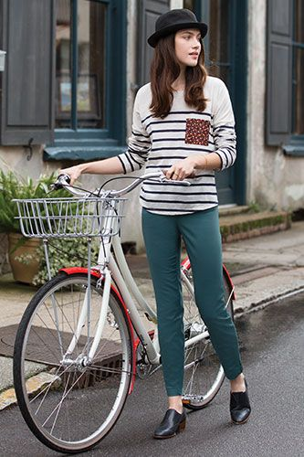 All clothing by Maison Jules. Striped Top, $34.50; Charlotte Skinny-Leg Pants, $49.50. stripe top. bicycle fashion style