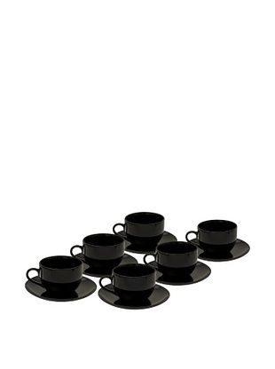 10 Strawberry Street Set of (6) 8-Oz. Black Coupe Cups with Saucers