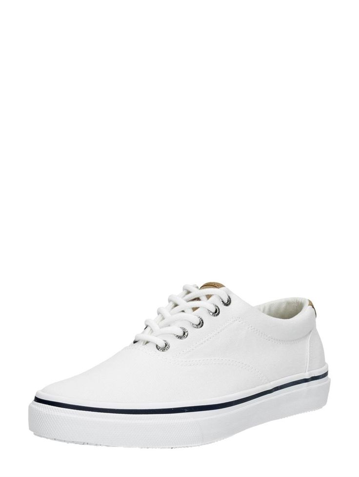 Sperry striper witte bootschoenen voor heren