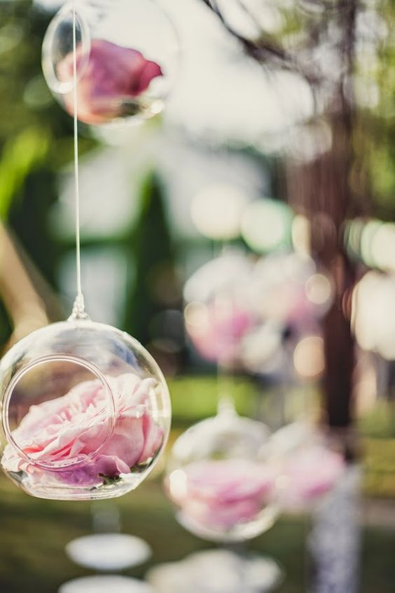 classic shabby chic wedding with sweet details / http://www.himisspuff.com/hanging-glass-globes-wedding-decor-ideas/3/