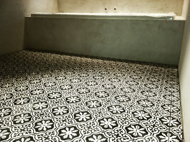 Portuguese cement tiles in black and white.