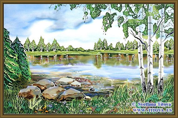 Title : By the Lake. Original Silk Painting от MagicSilkPainting