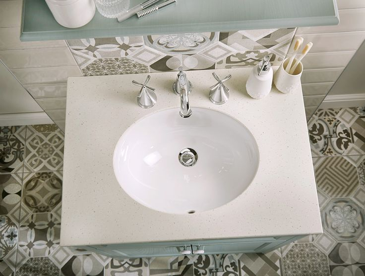 20mm ivory quartz solid surface worktop, salino three hole basin mixer, taupe brick bathroom wall tiles and bohemian blues bathroom floor tiles #downton #downtonclassical #bathroomfurniture #myutopia