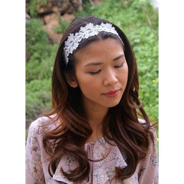 Silver Lace Headband, Bridal Hairpiece, Tribal Headband, Wedding... (70 RON) ❤ liked on Polyvore featuring accessories, hair accessories, hippie headbands, tribal headband, boho headbands, headband hair accessories and bohemian hair accessories