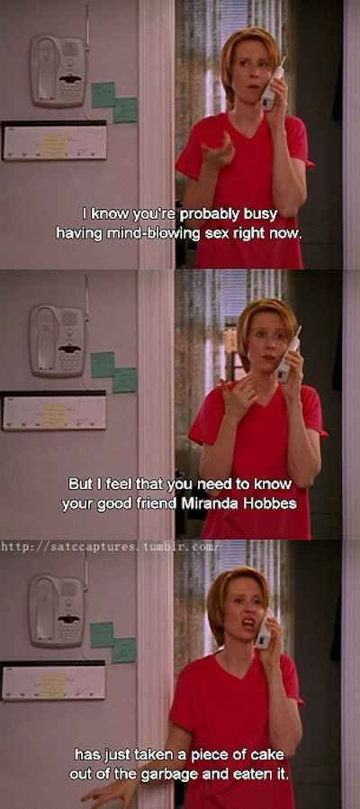 When she turned the conversation into a story about how she ate garbage cake: | 19 Times You Wanted To Slap Miranda Hobbes