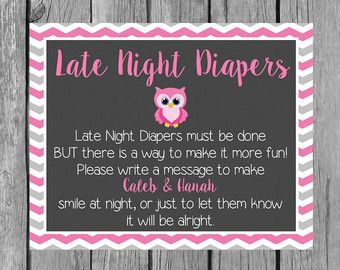 Items similar to Bowties or Bows Late Night Diapers Baby Shower Sign/Blue or Pink Baby Shower Games/Diaper Thoughts Message on Etsy