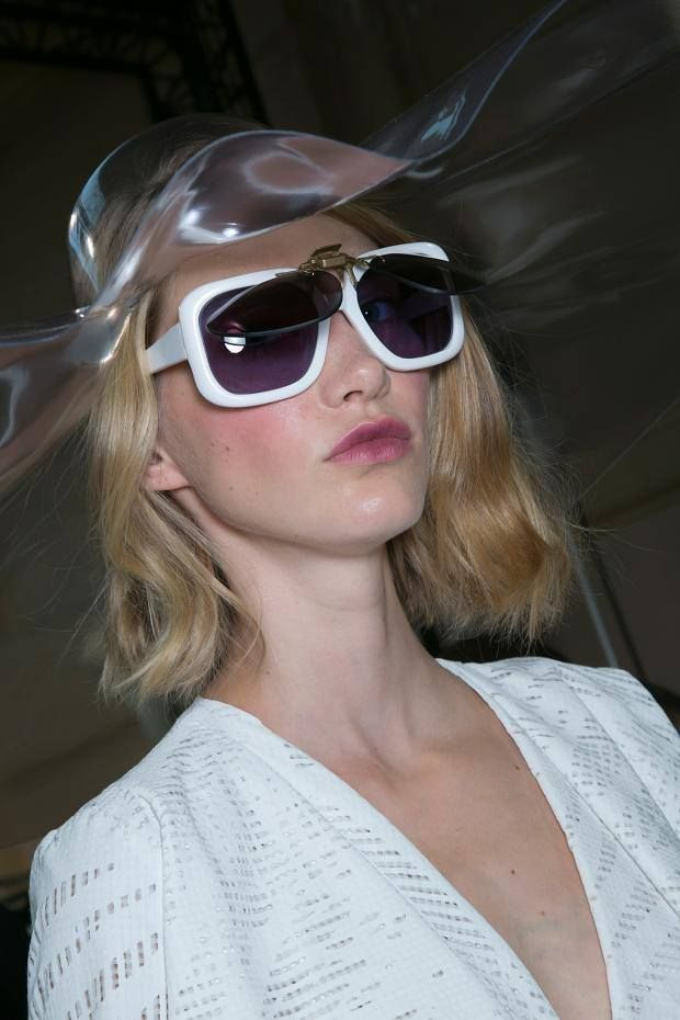 Backstage at #Chalayan Paris Spring Summer 2014 show - all the show sunglasses were produced and engineered in General Eyewear's London studio. (image from fashionising.com)