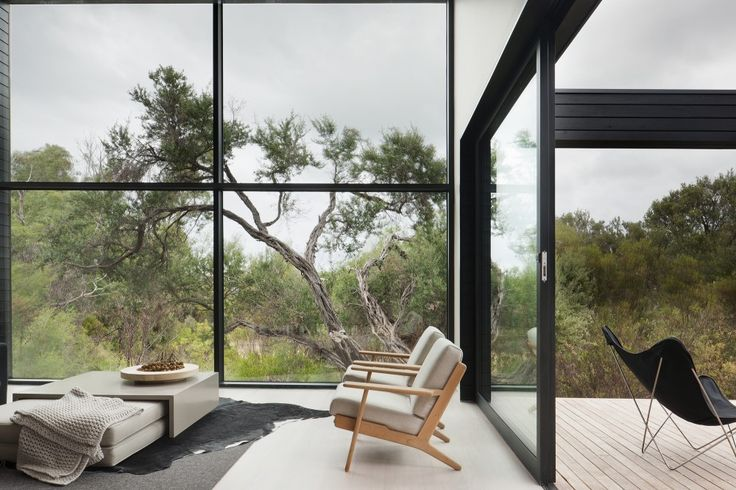 black framing, silvered timber deck, butterfly chair