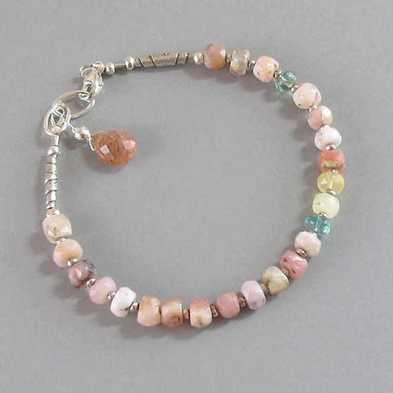 Peruvian Opal Apatite Bracelet Sterling Silver by DJStrang on Etsy