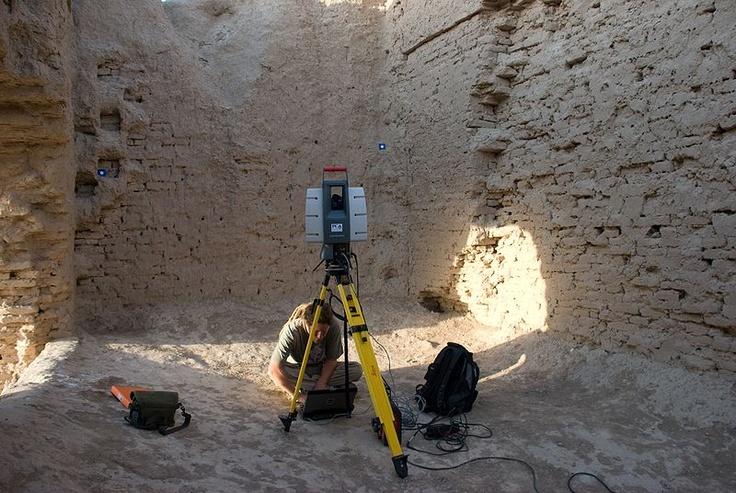 Interior of Kepderihana, at Merv, with a 3D laser scanner positioned for work.
