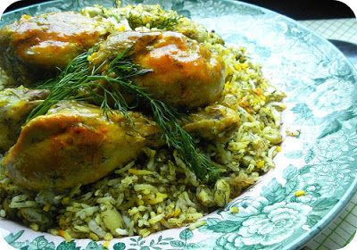 Shevid Baghali Polow with Morgh - Dill Lima Beans Rice with Chicken ...