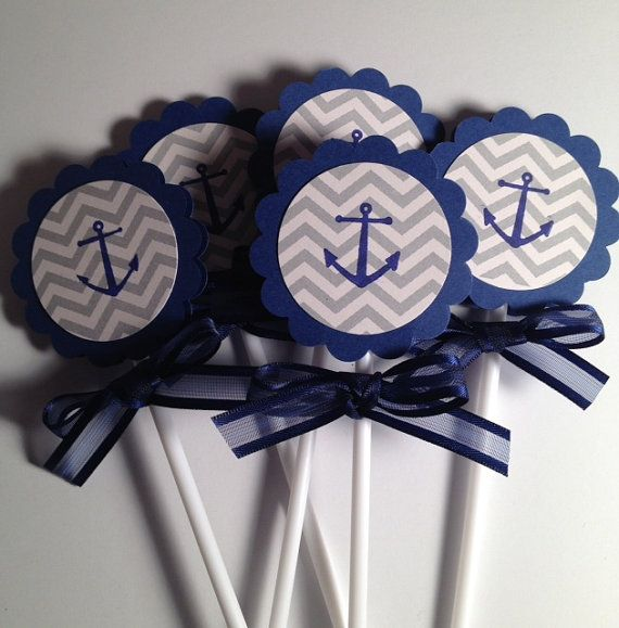 Nautical Theme Anchor Cupcake Toppers Set of 20 by craftedbysuzy, $12.00
