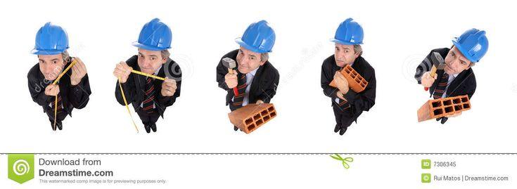 """""""De mannen (de blauwhelmen) en ikzelf hebben gedurende een jaar aan de ruwbouwwerken gezwoegd."""" De arbeiders van de bouwwerf dragen blauwe helmen tijdens hun werk."""