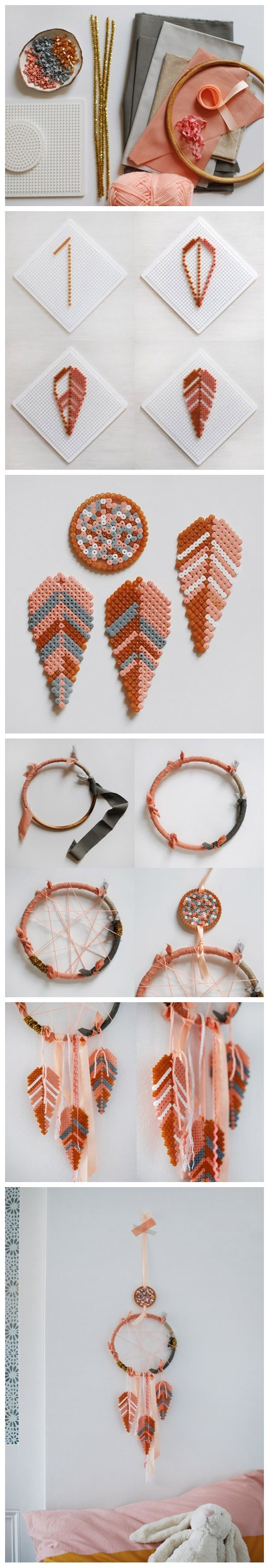 DIY: Make a lovely dream catcher with Hama bead feathers