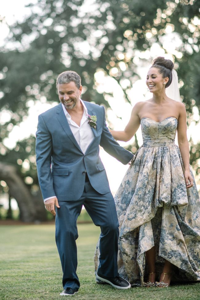 Chic Southern Wedding featuring a blue gown | Coastal Bride
