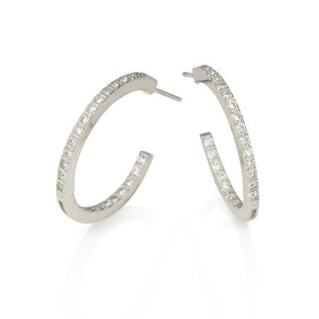 Rhodium plated Sterling Silver Hoop earrings. Beautifully designed with Cubic Zirconia on the inside and outside visible edge.