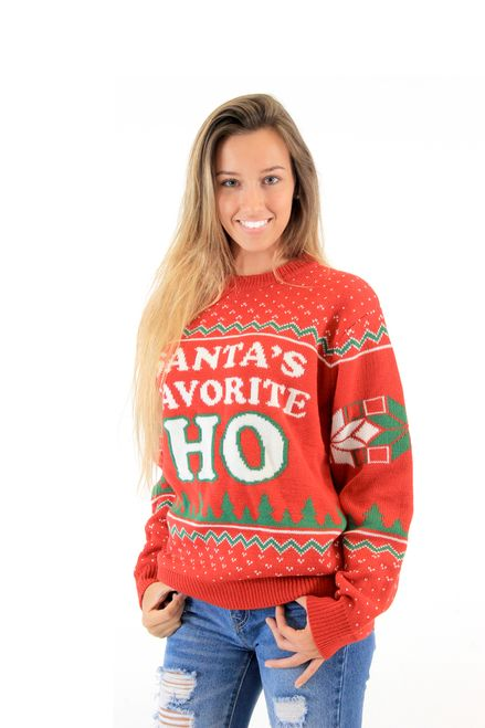 Commemorate your favorite cult classic with an awesome Santa's Favorite HO Adult Red Ugly Christmas Sweater . Free shipping on Ugly Christmas Sweaters orders over $50.