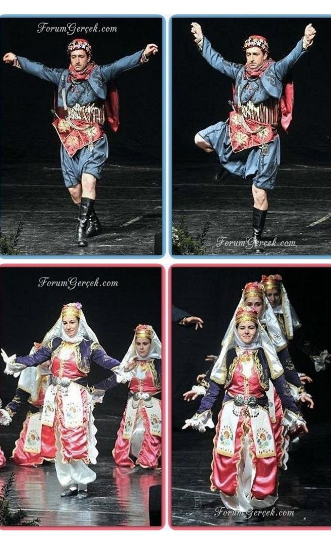 'Zeybek' dances from the Izmir province.  Men's 'Zeybek'-dances are associated with the culture of the 'Efe' (warriors with nomadic Yörük origins, settled in Northwestern Anatolia); some of the dance moves symbolize the flight of the eagle.   Female 'Zeybek'-dances are characterized by a self-assured and elegant style.