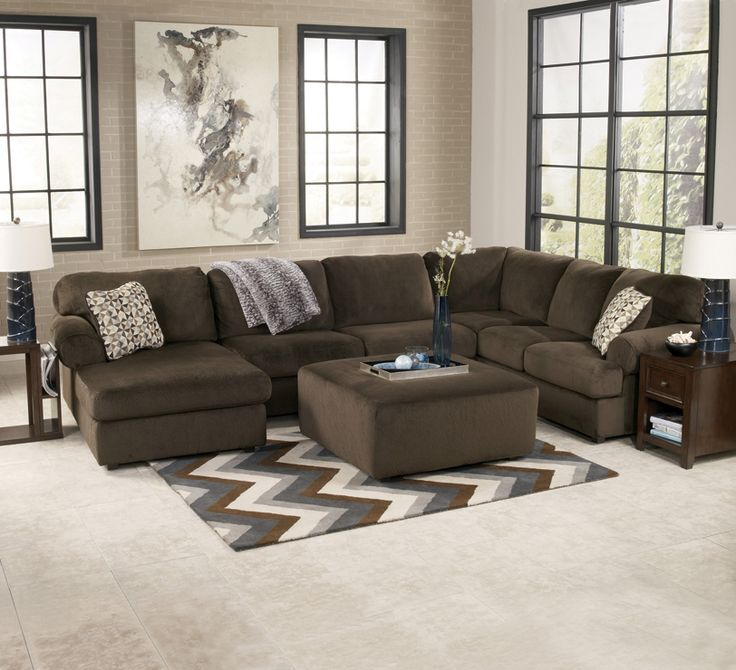 Plush contemporary 3 piece sectional with left facing chaise