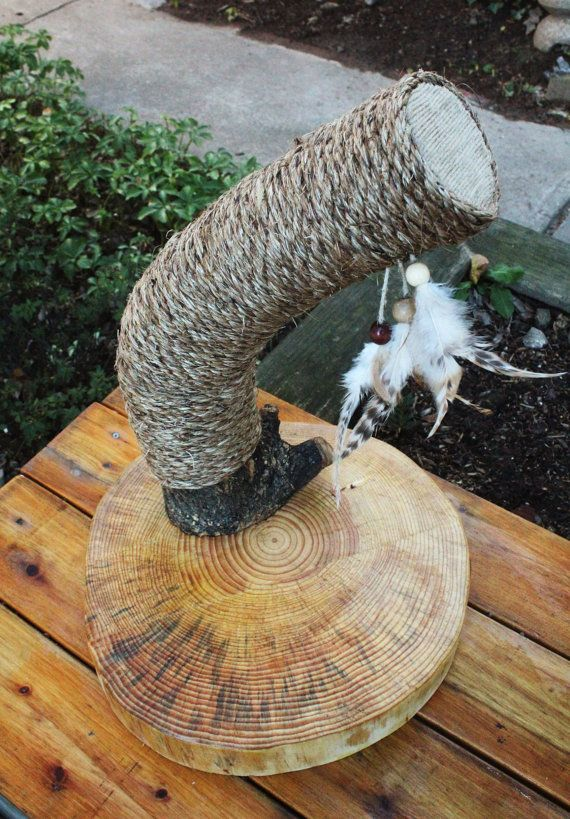 Handmade & Recycled Tree-Limb Cat Scratching Post - Rustic Cat Furniture - Free Shipping!