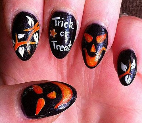 69 best Halloween Pumpkin Nail Art images on Pinterest