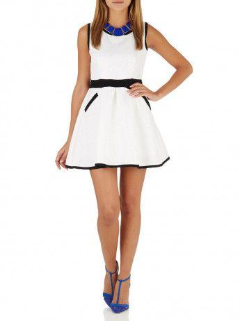 Suzanne Betro Sleeveless Embossed Dress White