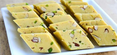 Microwave Almond Burfi (Indian cookies). Similar to recipe in book Super Simple Indian Art by Alex Kuskowski, E 745.5 KUS, but try book's if possible.