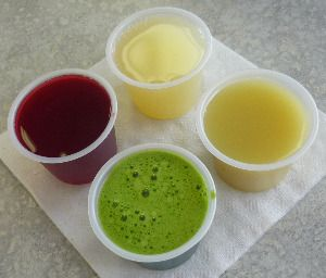 A grand slam from Arden's Garden in Atlanta. (Wheatgrass, Cranberry, Lemon, Ginger) Really great for Hangovers!