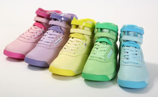 Reebok Freestyle - women's athletic shoe style that was introduced in 1982 and designed for aerobic exercise. It quickly surged Reebok into the mainstream athletic wear market and fashion scene along with becoming one of the most popular athletic shoes of all time. In 1984, the shoe accounted for more than half of the Reebok sales. As a result, the Freestyle became a 1980s fashion icon and is still manufactured to this day.