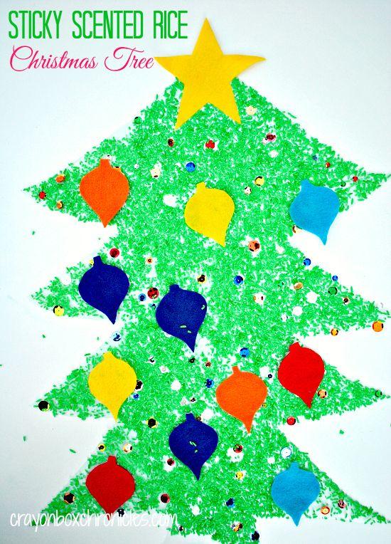 Sticky Hazelnut Rice Christmas Tree by Crayon Box Chronicles - Winter Sensory Play Series