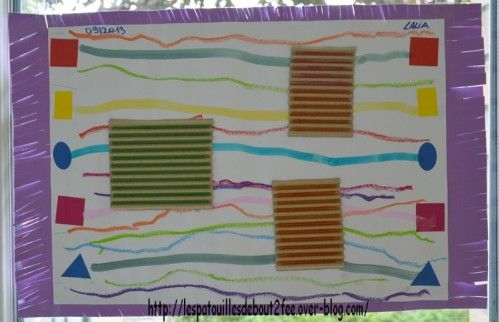 lignes et traits horizontaux ( relier des gommettes, tracer sur carton ondulé)