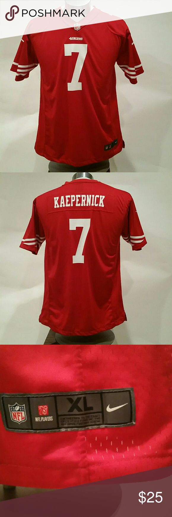 49'er Youth Football Jersey Youth size XL/Extra Large San Francisco 49'ers NFL Nike Football Jersey. EUC. Could fit womens size M/Med or men's Size S/Small. Only worn once by my daughter to watch a football game! Youth size XL =18/20. NFL /Nike Shirts & Tops