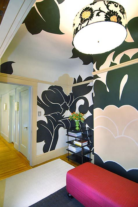 lores_0044: Paintings Inspiration, Giant Flowers, Flowers Stencil, Handpaint Wall, Wall Appeal, Fabrics, Paintings Wall Murals, Small Spaces, Wall Design
