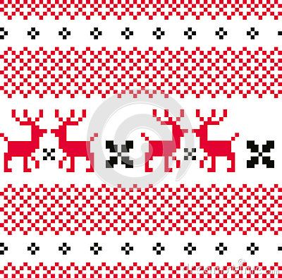 Norwegian seamless pattern with Deers. Vector Illustration