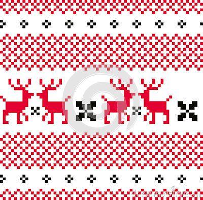 Norwegian seamless pattern with Deers. Vector Illustration