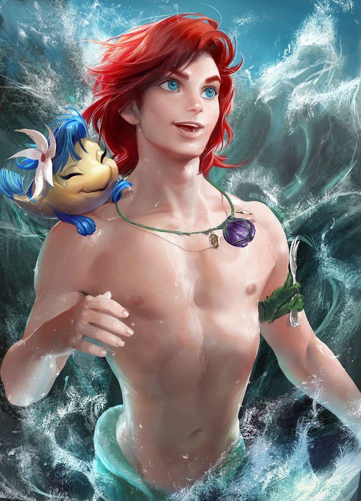 Disney Princesses Drawn as Disney Princes - Sakimi Chan Art: Male version of Ariel is unfortunately still illegal.