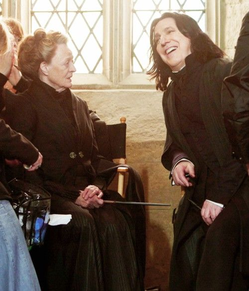 """Let's practice the face my character will never make"" ;) Minerva McGonagall (Maggie Smith) & Severus Snape (Alan Rickman). Behind the scenes"